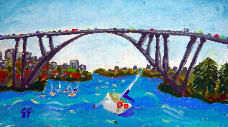 Gladesville Bridge, Oil Pastel, 2012 - (ON HOLD FOR CLIENT)