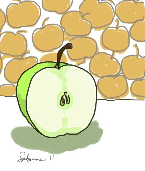 Half an apple.iPad drawing. 2012