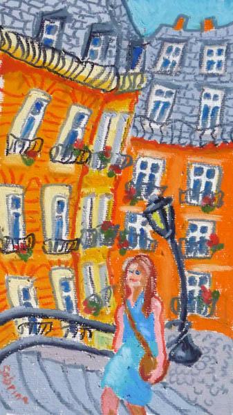 Steps, Montmartre. Oil pastel 9x5, 2012