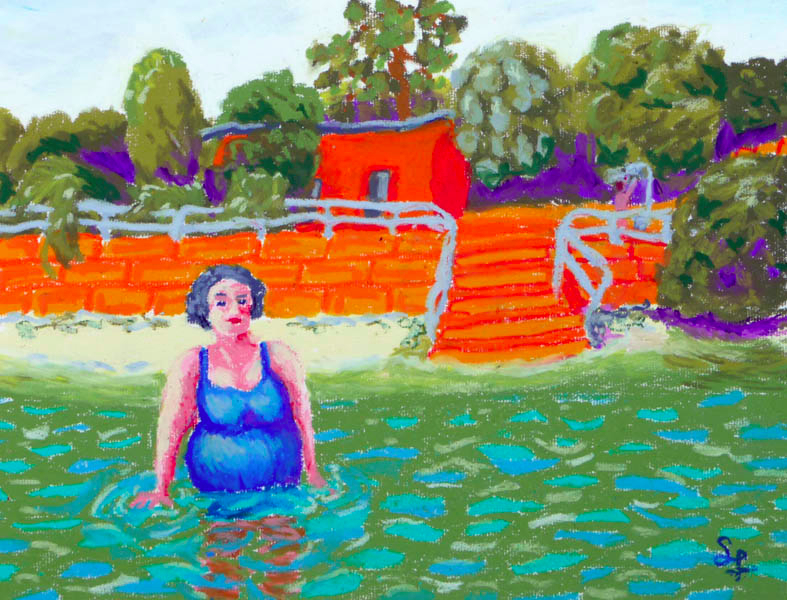 The Blue Swimsuit (Woolwich Baths) Oil Pastel, 2013 (SOLD)